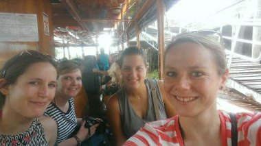 Erika, Suzy, Marie and I on the boat in El Tigre