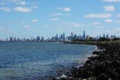 Melbourne Skyline von St Kilda aus gesehen