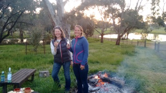 Prue and me by the fire with a glass of white wine