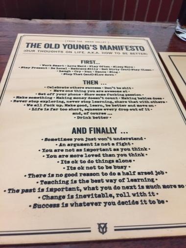 Ich mag das Manifest der Old Young Destillerie